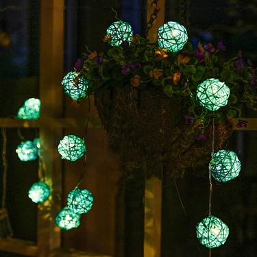 Rattan Ball Solar String Licht
